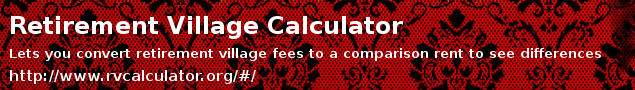 Retirement village cost calculator